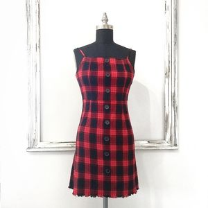 90's Red Plaid Square Neck Flannel Dress